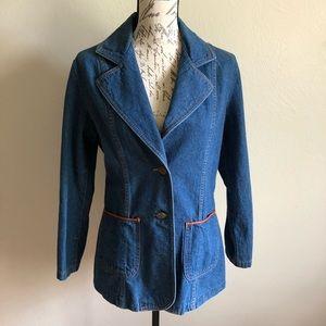 Vintage Denim Jean Blazer Jacket 60s 70s Small